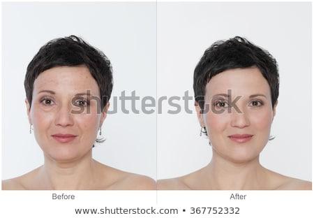 visage · maquillage · comparaison · portrait · femme · heureux - photo stock © flisakd