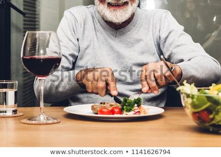 idős · férfi · eszik · freskó · ebéd · bor - stock fotó © is2