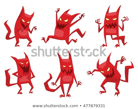 Desenho animado diabo zangado ilustração olhando Foto stock © cthoman