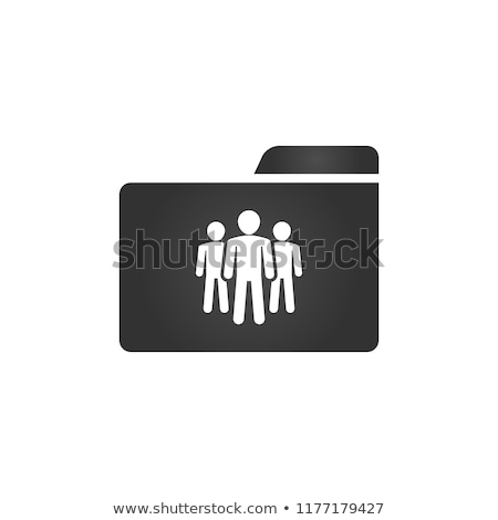 Folder Icon with crowd icon in trendy flat style isolated on white background, for your web site des Stock photo © kyryloff