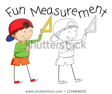 Stock fotó: Firka · fiú · tart · mérés · szerszám · illusztráció