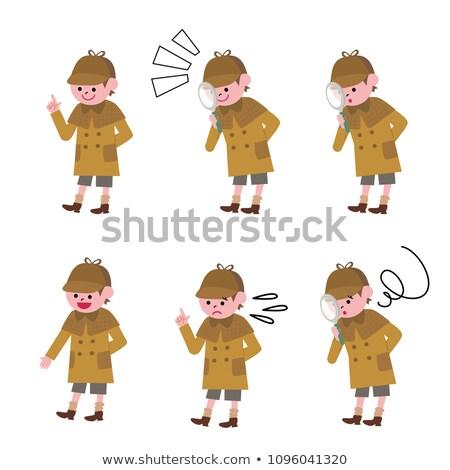 Cartoon glimlachend detective jongen gelukkig Stockfoto © cthoman