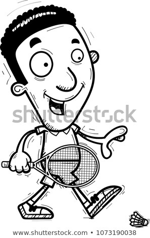Cartoon Black Badminton Player Walking Stock photo © cthoman