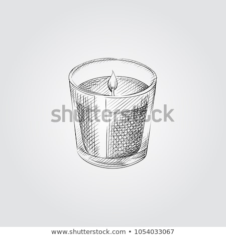 Christmas sketch with burning candles in candle holder with festive decorations, sweets and baubles  Stock photo © Lady-Luck