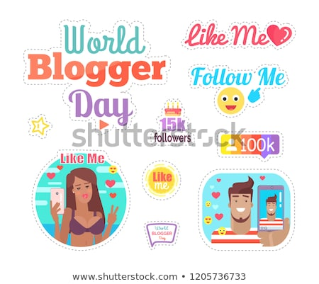 Blogger Day Like Me Woman Taking Selfie Vector Stock photo © robuart