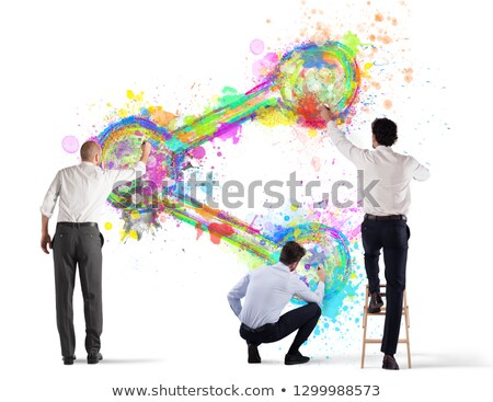 Business person paint share icon on a wall Stock photo © alphaspirit