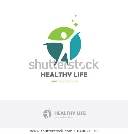 Verde logotipo saudável homem símbolo vetor Foto stock © blaskorizov
