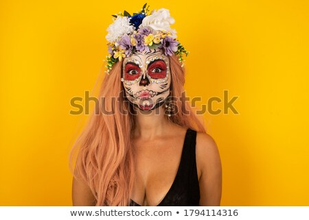 Korkutucu gelin halloween makyaj bakıyor kamera Stok fotoğraf © deandrobot