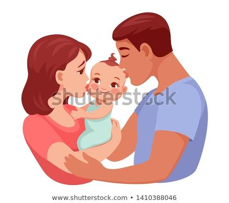 parents · baiser · fille · mère · père · souriant - photo stock © szefei