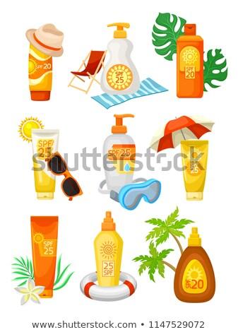 Solar loção inflável palma ilustração praia Foto stock © adrenalina