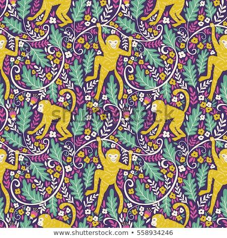 Játékos emberszabású majom végtelen minta illusztráció textúra majom Stock fotó © colematt