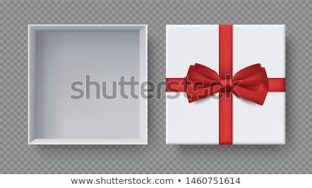 white gift box with red bow and ribbon top view element for decoration gifts greetings holidays stock photo © olehsvetiukha