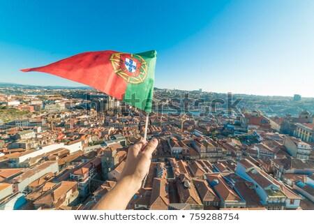 Ev bayrak Portekiz beyaz evler Stok fotoğraf © MikhailMishchenko