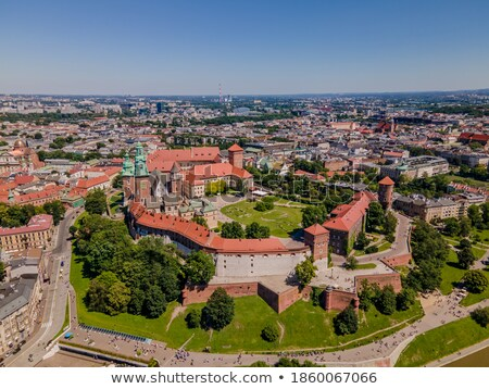 aerial view of the historical center of krakow church wawel ro stock photo © vlad_star