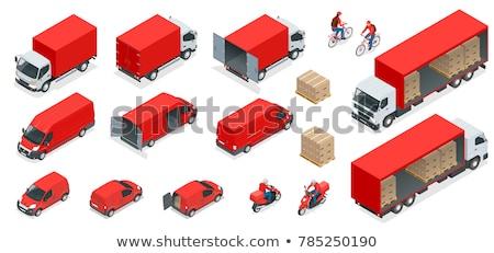 vector · isometrische · heftruck · vak · oplegger · vrachtwagen - stockfoto © -talex-