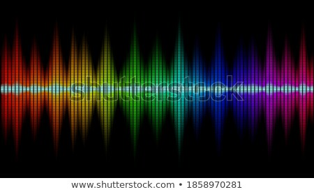 Сток-фото: Colorful Sound Waves On Black Background Set Audio Player Equalizer