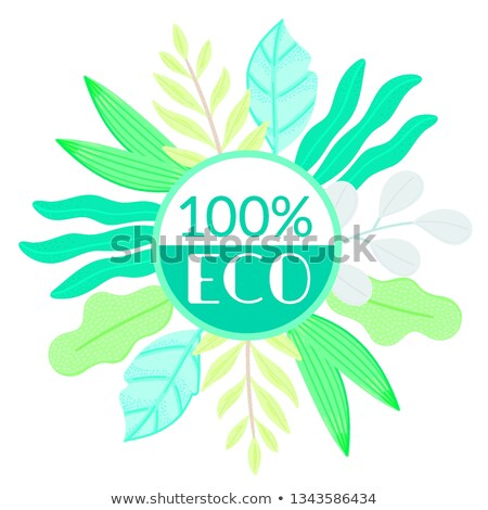 Circle decorated different leaves in flat style. Simple shapes. Herbarium. Nature elements. Eco prod Stock photo © user_10144511