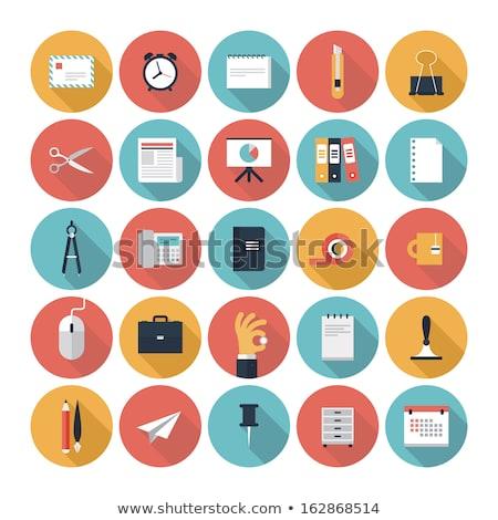 Színes papír ikon gyűjtemény illusztráció ikon üzlet Stock fotó © Blue_daemon
