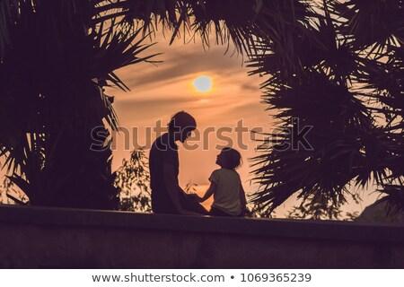 Stockfoto: Silhouetten · vader · zoon · voldoen · zonsondergang · tropen · achtergrond