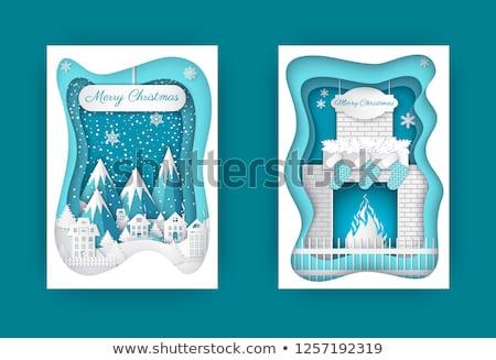 Stok fotoğraf: Neşeli · Noel · kartpostallar · şömine · dağlar · kar
