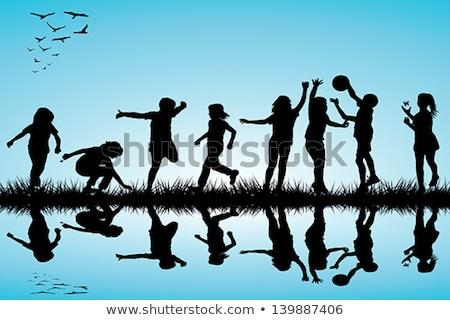 çocuklar çok kız çocuk arka plan sanat Stok fotoğraf © colematt
