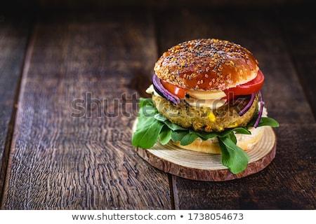 Hamburger glas tomatensap zwarte steen boord Stockfoto © Alex9500