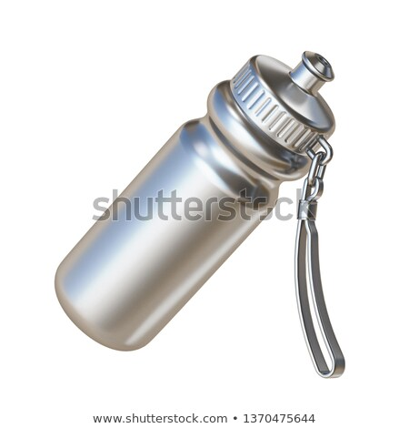 Silver sport water bottle angled 3D Stock photo © djmilic