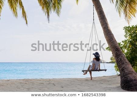 relajarse · Maldivas · hermosa · blanco · playa · solitario - foto stock © fyletto