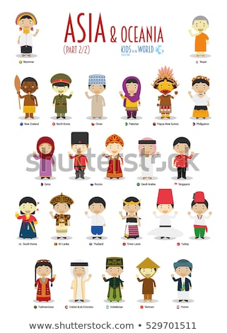 Group Of Character Vietnamese Children Vector Stock photo © pikepicture