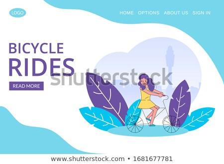 Crianças alugar bicicleta parque ilustração água Foto stock © colematt