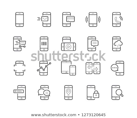 payment by mobile phone vector thin line icon stock photo © pikepicture