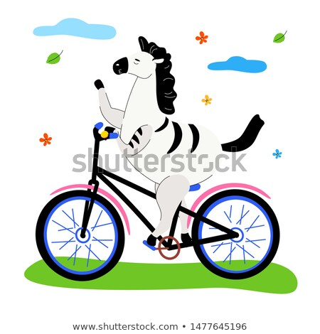 Cute zebra cycling - modern flat design style illustration Stock photo © Decorwithme