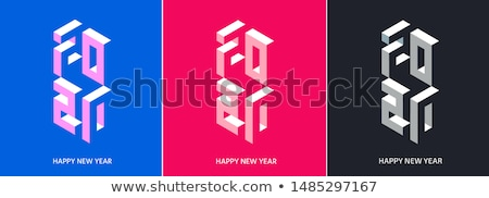 New Year 2020 card of 3d holiday paper icons Stock photo © cienpies