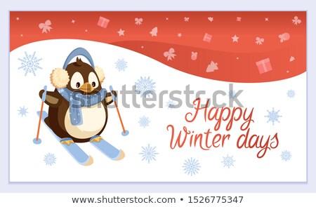 Szczęśliwy zimą Pingwin narty charakter wektora Zdjęcia stock © robuart