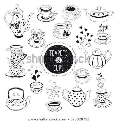 Siyah beyaz karikatür tatlı gıda nesneler ayarlamak örnek Stok fotoğraf © izakowski