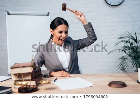 Gavel Near Books With Golden Scale Stock photo © AndreyPopov
