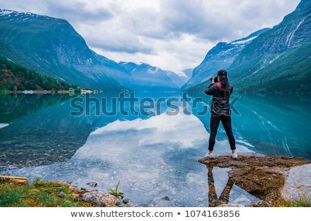Doğa fotoğrafçı Norveç turist kamera ayakta Stok fotoğraf © cookelma