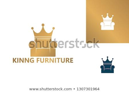 Rey sentado trono ilustración hombre funny Foto stock © adrenalina
