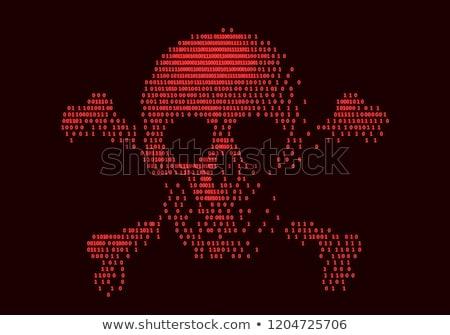 Abstract binary skull on black background Stock photo © antkevyv