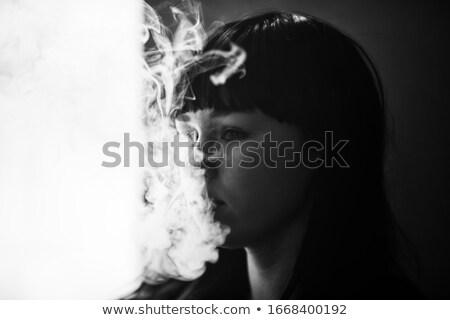 mutlu · güzel · esmer · sigara · beyaz · seksi - stok fotoğraf © smithore