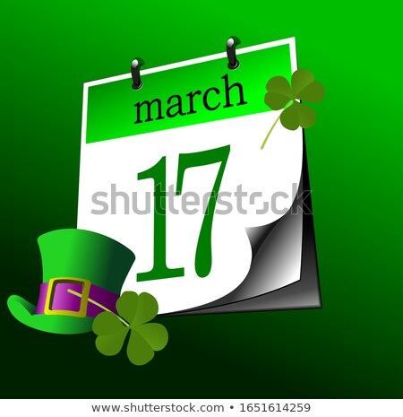 Calendar page of St. Patrick's Day. 17-th of march. Vector Stock photo © leonido
