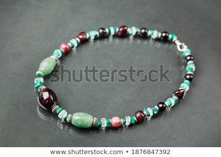 Quartzo colar pulseira miçanga isolado branco Foto stock © homydesign