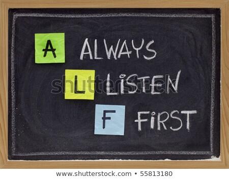 Betűszó állandóan hallgat első zöld tábla Stock fotó © bbbar