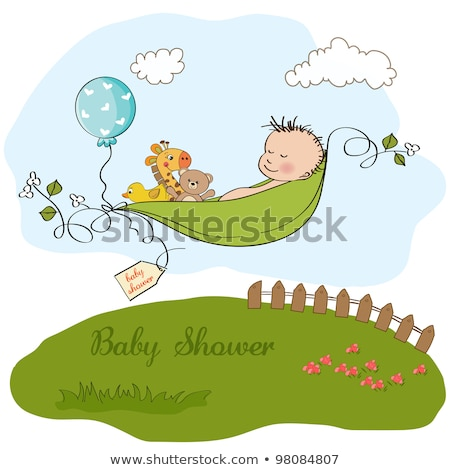 little boy sleeping in a pea been, baby shower card Stock photo © balasoiu