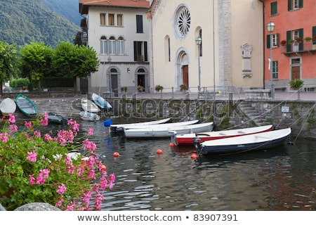 Boats At The Tiny Harbour Of Torno At Lake Como In Italy Stok fotoğraf © haraldmuc