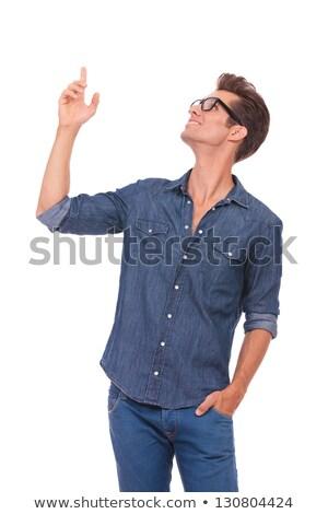 affaires · pointant · portrait · homme · professionnels · souriant - photo stock © scheriton