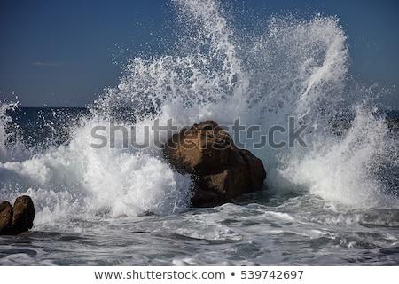 岩 波 岩 怒っ 海 嵐雲 ストックフォト © jrstock