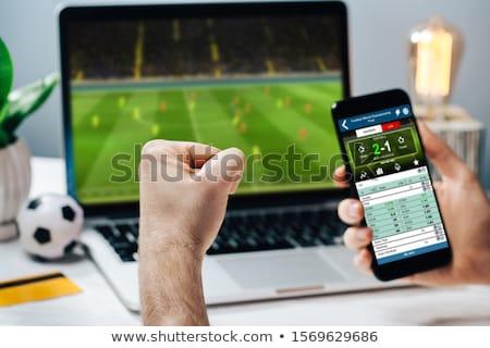 Stockfoto: Laptop · jongen · spelen · voetbal · klein · scherm