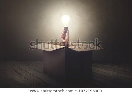 dışında · kutu · düşünme · adam · soru · imzalamak - stok fotoğraf © stevanovicigor