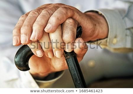 senior · mãos · caminhada · vara - foto stock © lighthunter